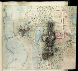 Two fragments of a map showing locations of temples at Mahabalipuram